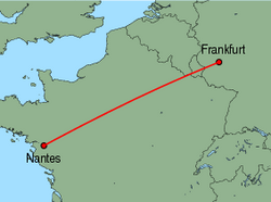 Map of route from Frankfurt(Hahn) to Nantes