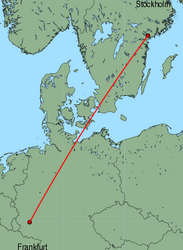 Map of route from Stockholm (Skavsta) to Frankfurt (Hahn)