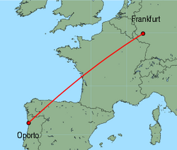 Map of route from Oporto to Frankfurt (Hahn)
