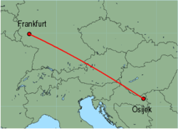 Map of route from Osijek to Frankfurt (Hahn)