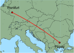 Map of route from Plovdiv to Frankfurt (Hahn)