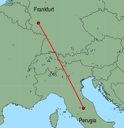 Map of route from Perugia to Frankfurt (Hahn)