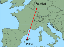 Map of route from Palma to Frankfurt(Hahn)