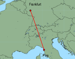 Map of route from Pisa to Frankfurt (Hahn)