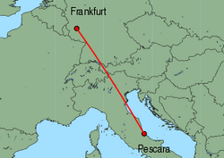 Map of route from Pescara to Frankfurt (Hahn)