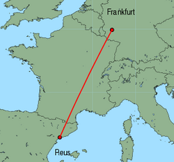 Map of route from Reus to Frankfurt (Hahn)