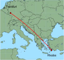 Map of route from Rhodos to Frankfurt (Hahn)