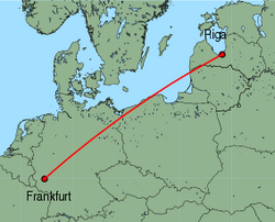 Map of route from Riga to Frankfurt (Hahn)
