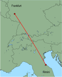 Map of route from Rimini to Frankfurt (Hahn)