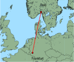 Map of route from Oslo (Rygge) to Frankfurt (Hahn)