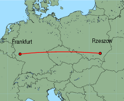 Map of route from Frankfurt (Hahn) to Rzeszow