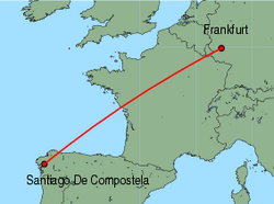 Map of route from SantiagodeCompostela to Frankfurt(Hahn)