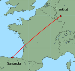Map of route from Santander to Frankfurt(Hahn)