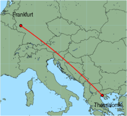 Map of route from Thessaloniki to Frankfurt (Hahn)