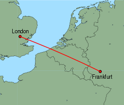 Map of route from London(Stansted) to Frankfurt(Hahn)