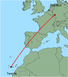 Map of route from Tenerife (Sur) to Frankfurt (Hahn)