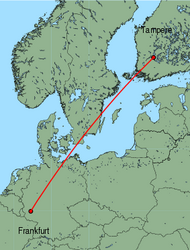 Map of route from Tampere to Frankfurt (Hahn)