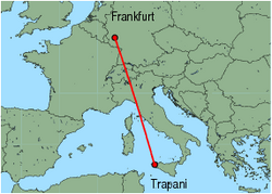 Map of route from Trapani to Frankfurt (Hahn)
