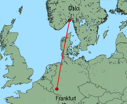 Map of route from Oslo (Torp) to Frankfurt (Hahn)