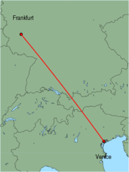 Map of route from Venice (Marco Polo) to Frankfurt (Hahn)
