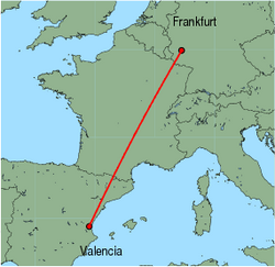 Map of route from Valencia to Frankfurt (Hahn)