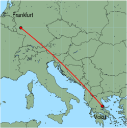 Map of route from Volos to Frankfurt (Hahn)