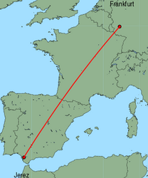 Map of route from Jerez to Frankfurt (Hahn)