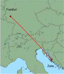 Map of route from Frankfurt (Hahn) to Zadar