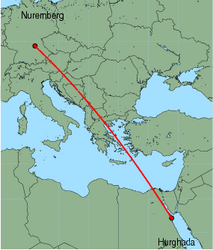 Map of route from Hurghada to Nuremberg