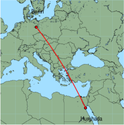 Map of route from Hurghada to Berlin(Schoenefeld)