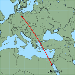 Map of route from Hurghada to Berlin (Tegel)