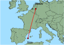Map of route from Ibiza to Weeze
