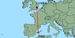 Map of route from Ibiza to London (Stansted)