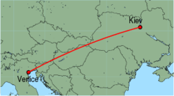 Map of route from Kiev(Zhuliani) to Venice(MarcoPolo)