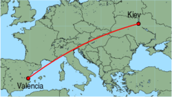 Map of route from Kiev (Zhuliani) to Valencia