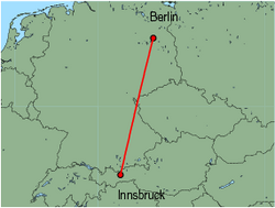 Map of route from Innsbruck to Berlin (Tegel)