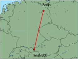 Map of route from Innsbruck to Berlin(Tegel)