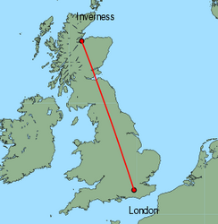 Map of route from Inverness to London (Gatwick)