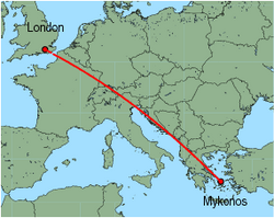 Map of route from London(Gatwick) to Mykonos