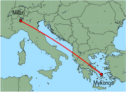 Map of route from Milan (Malpensa) to Mykonos