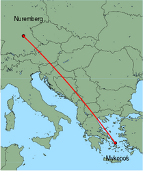 Map of route from Nuremberg to Mykonos