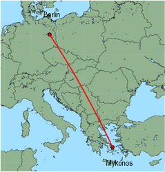 Map of route from Berlin (Schoenefeld) to Mykonos