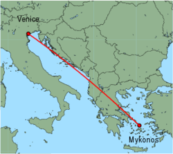 Map of route from Venice (Marco Polo) to Mykonos