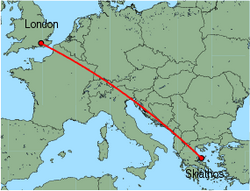 Map of route from London (Gatwick) to Skiathos