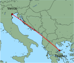 Map of route from Venice (Marco Polo) to Skiathos