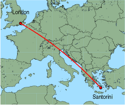 Map of route from London (Gatwick) to Santorini