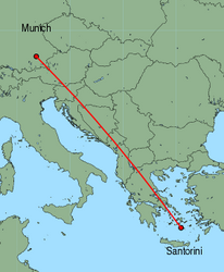 Map of route from Munich to Santorini