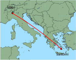 Map of route from Milan (Malpensa) to Santorini