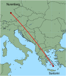 Map of route from Nuremberg to Santorini