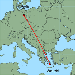Map of route from Berlin&nbsp;(Tegel) to Santorini
